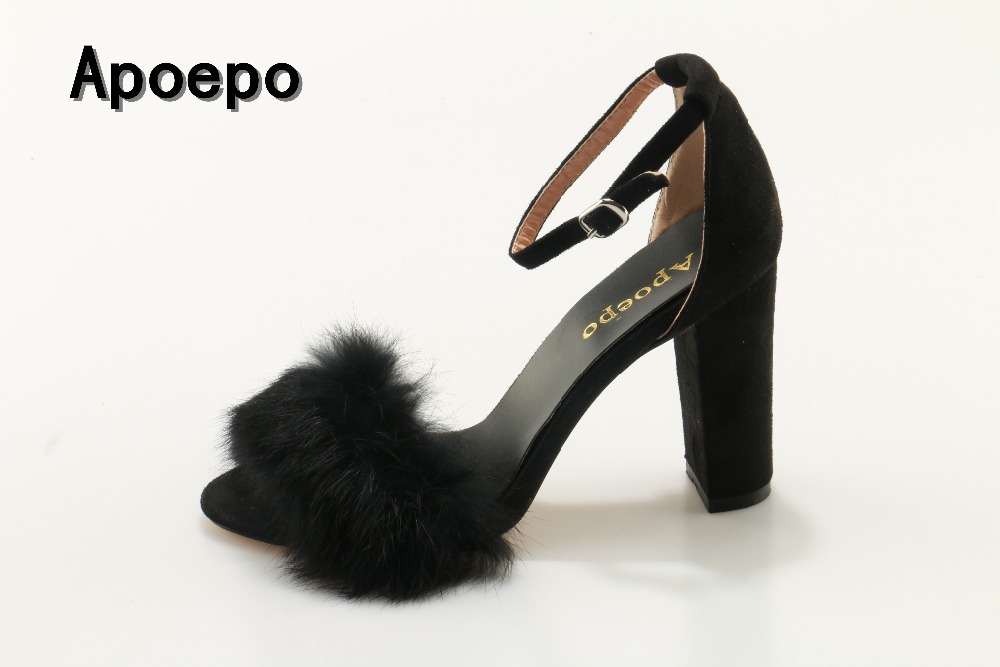 Hot selling black fur decorations thick heels woman sandal 2017 ankle strap gladiator sandal sexy open toe high heel shoes кабель для тонарма nordost tonearm frey 2 2 75 m din прямой