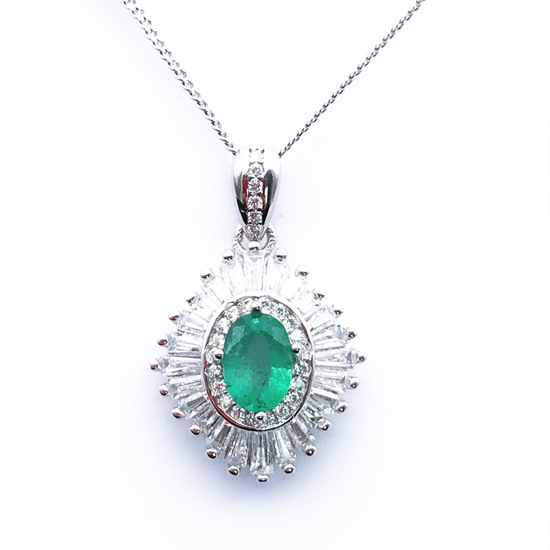 Sterling Silver 925 Pendant Necklace For Women Fine Jewelry Green Emerald Wedding Engagement Necklace Party Valentines giftSterling Silver 925 Pendant Necklace For Women Fine Jewelry Green Emerald Wedding Engagement Necklace Party Valentines gift