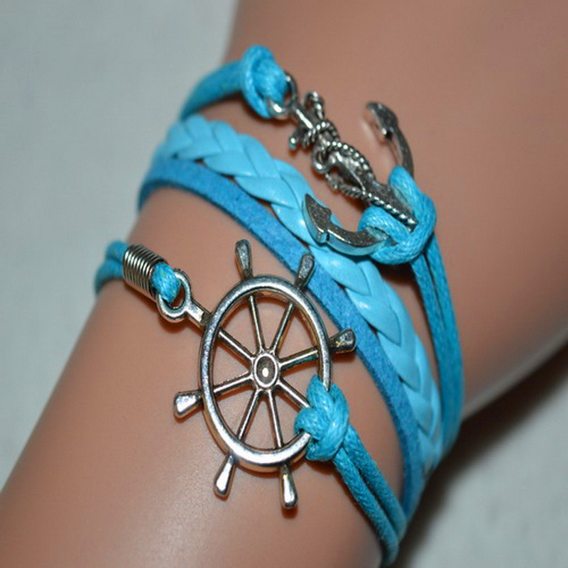 valentine day silver alloy anchor rudder blue leather suede rope bracelet bangle personalized women men customized gifts jewelry - Customized Valentines Day Gifts