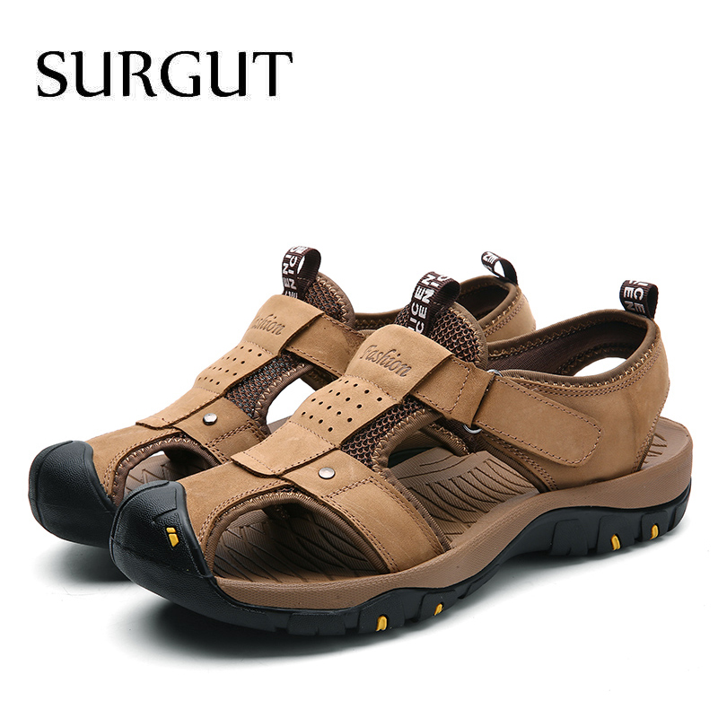 Image 4 - SURGUT Summer New Sandals Men Leather Classic Roman Sandals 2019 Slipper Outdoor Sneaker Beach Men Water Trekking Casual Sandals-in Men's Sandals from Shoes