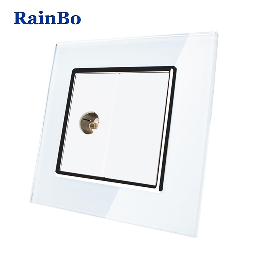 RainBo Brand Free shipping Crystal Glass Panel Wall TV Socket Wall TV Outlet  80*80mm A18TVW/B dixinge high quality brand german standard socket wall socket tv outlet silvery were pc material panel b120 l134