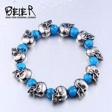 Beier 316L Stainless Steel bracelet punk skull Bracelet For Vintage Cool turquoise Style Men's Bracelet Jewelry BC8-036
