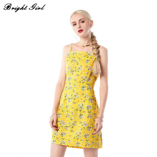 BRIGHT GIRL Women Summer Dress Sexy Sleeveless Casual Mini Dresses Elegant Boho Vinatge Floral Print Dress Sundress Vestidos
