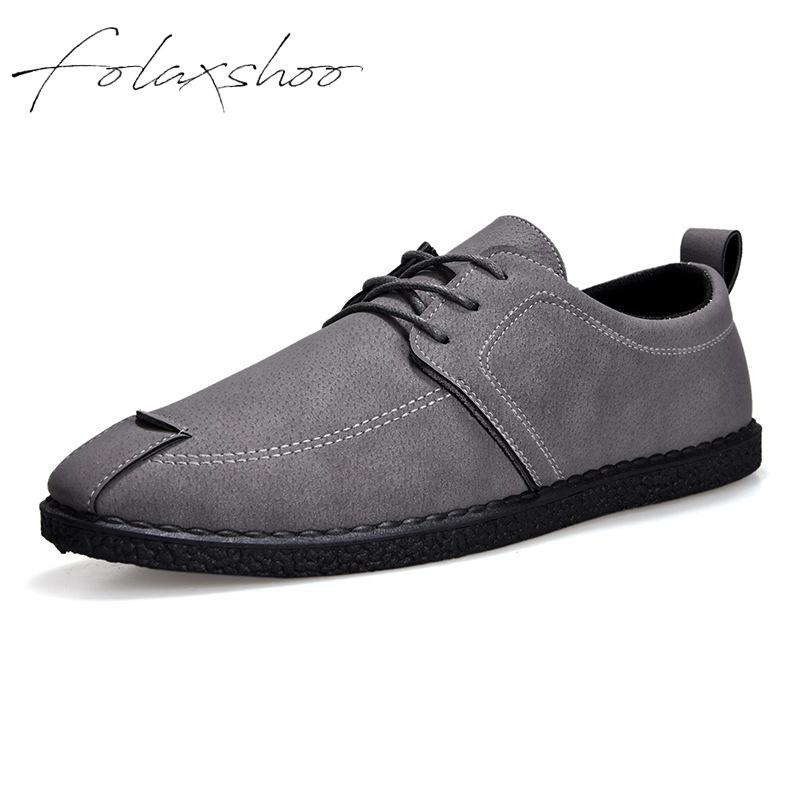 Folaxshoo Basic Pu Lace-up Spring Autumn Breathable Casual Mens Shoes   Leather   Men Casual   Suede   Shoes Chaussure Hommes