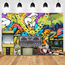 Hip Pop 80s 90s Backdrop Graffiti Rock Radio Photography Background Vintage Themed Party Decoration Backdrops Banner