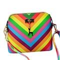 Летний пляж Известный бренд изысканный мода PU кожа женщин сумки 2017 Радуга shell сумка женская сумка A40-26