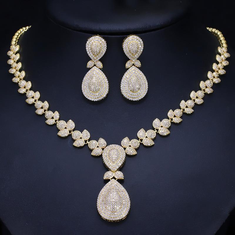 Dubai Gold Necklace and Earrings Jewelry Sets For Women Round Wedding Jewelery Set Bridal stonefans rosered dubai jewelry sets for women in nigerian wedding set prom necklace rhinestone necklace and earing sets wedding