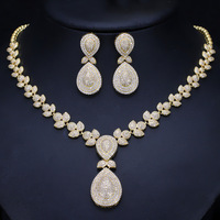 Dubai Gold Necklace and Earrings Jewelry Sets For Women Round Wedding Jewelery Set Bridal