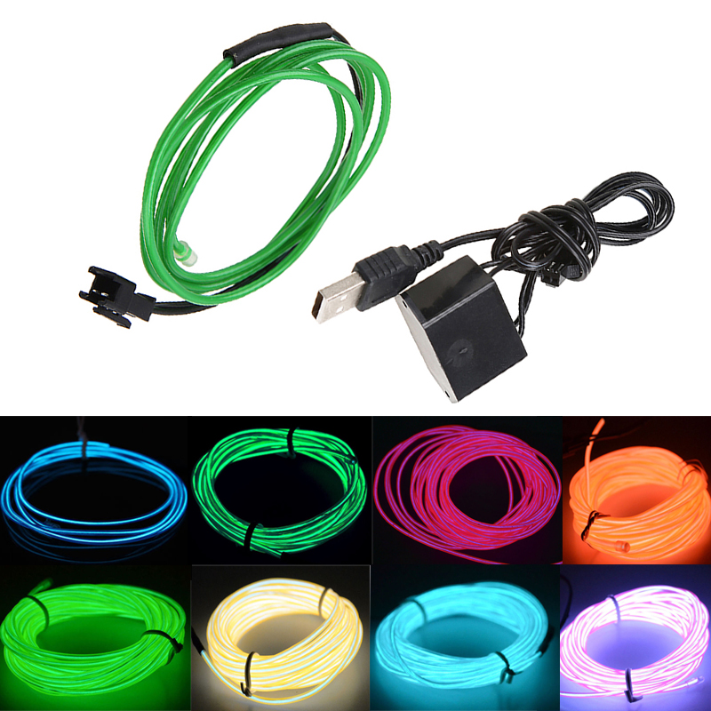 Colorful 4M Universal Car Truck Home Party Decorate Light Strip EL Tube Wire Neon Strip Light Glow LED Lamp With Controller USB