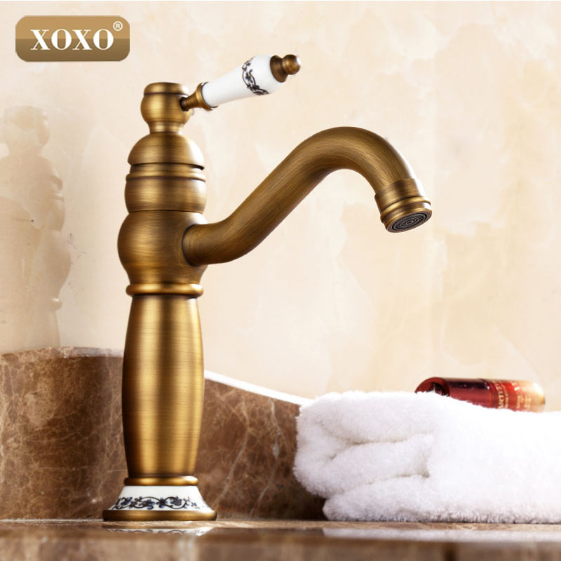 Xoxonice New Fashion Solid Brass With Ceramic Handle Antique Bronze Finish Bathroom Faucet
