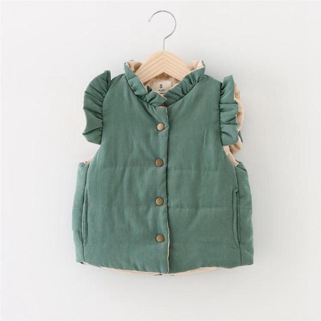 Winter Baby Infant Roupas De Bebe Colete Ruffles Thicken Girls Outerwear Coats Vests&Waistcoats
