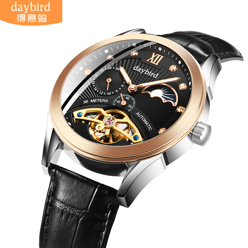 Brand Stainless Steel Flywheel Mens Watch Mechanical Automatic Tourbillon Watches Business Leather Waterproof Moon Phase WatchBrand Stainless Steel Flywheel Mens Watch Mechanical Automatic Tourbillon Watches Business Leather Waterproof Moon Phase Watch