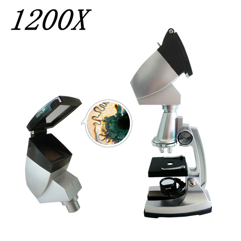 100x 400x 1200x Kids Educational Biological Microscope with Illuminator Students Toy Microscope with Projector for Children  цены