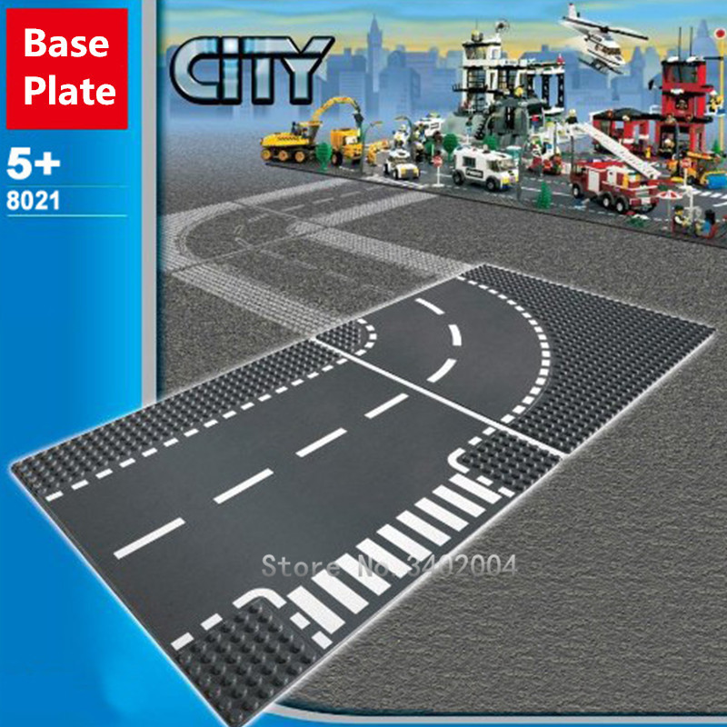 City Road Base Plate Lurus Crossroad Curve T-Junction Street - Mainan bangunan dan konstruksi - Foto 6