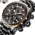 Новый 2019 LIGE мужские часы лучший бренд класса люкс Спорт кварцевые все сталь мужские часы Военные водостойкий хронограф Relogio Masculino