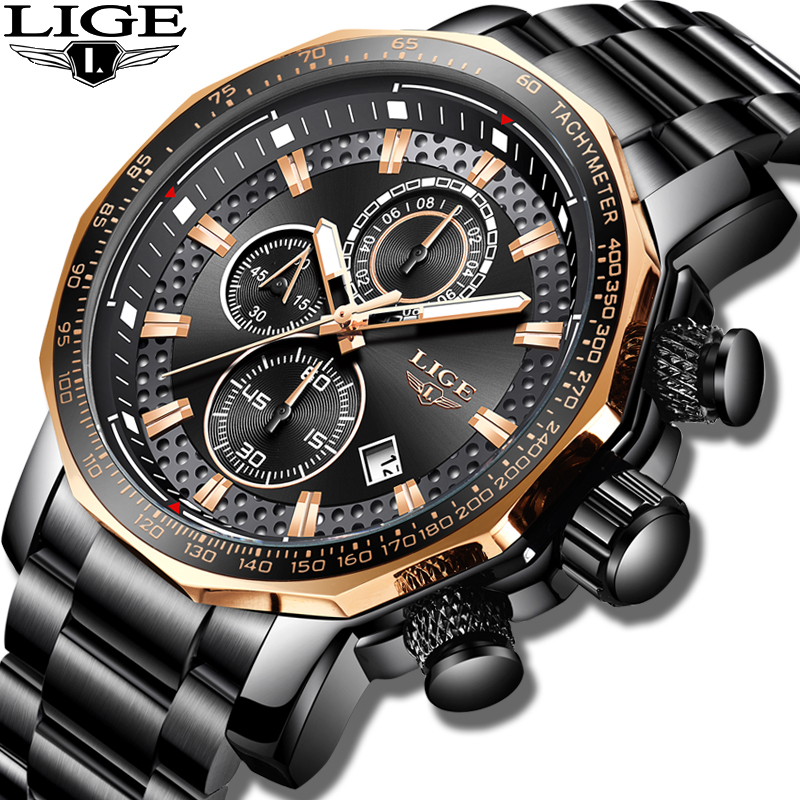 Novo 2019 LIGE Mens Relógios Top Marca de Luxo Esporte De Quartzo Todo o Aço Masculino Relógio Cronógrafo À Prova D' Água Militar Relogio masculino