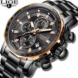 Novo 2019 lige relógios dos homens marca superior de luxo esporte quartzo todo o aço masculino relógio militar à prova dmilitary água cronógrafo relogio masculino
