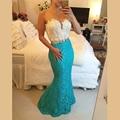 Unique Mermaid Prom vestidos 2015 pesados perlas de encaje sin mangas piso vestido de noche por encargo de la alta calidad