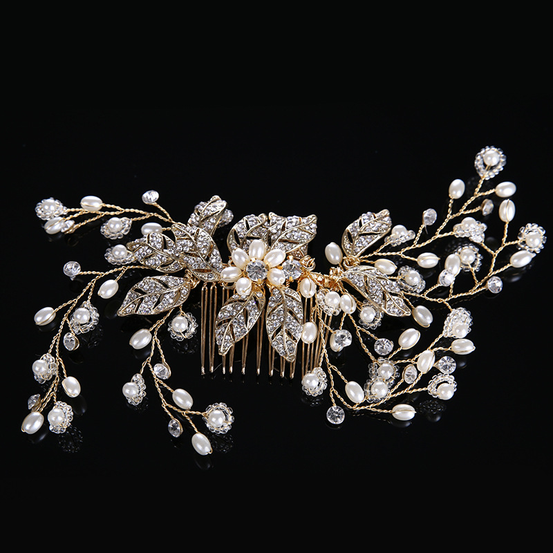 Stunning Handmade Wired Silver Rhinestones Crystals Pearls Flower Wedding Hair Comb Bridal Hair Accessories Bridesmaids Women stylish artificial crystals rhinestones oval necklace for women