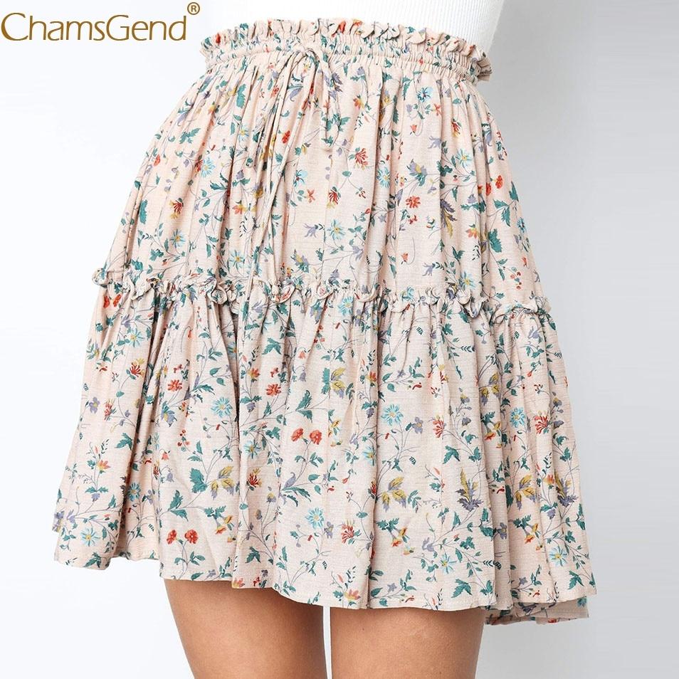 Chamsgend Womens Autumn Print skirts Empire Beige Women Casual Retro High Waist Design Evening Party Short Skirt Jun11