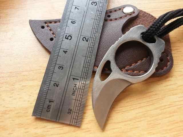 Mini MC Tasca Karambit con il fodero di cuoio di taglio portatile artiglio coltello strumento di campo All'aperto gadget Sopravvivere scatola pacchetto aperto apri