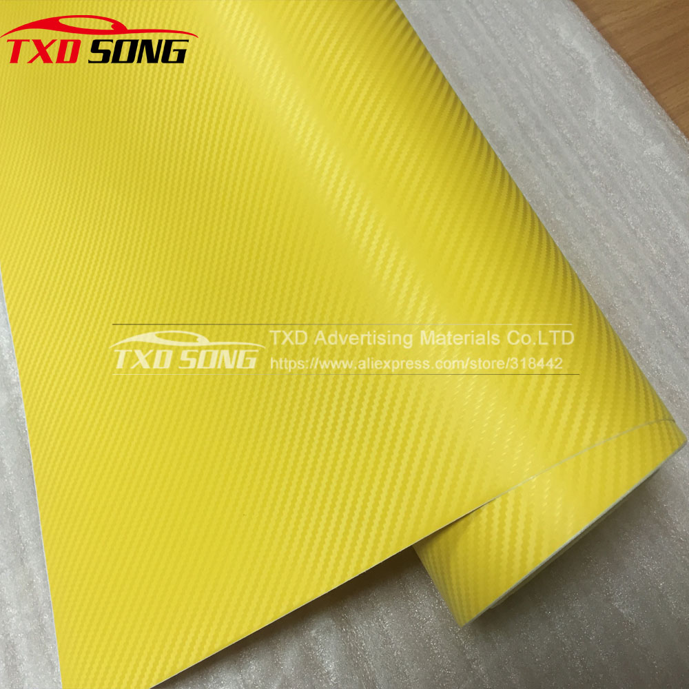 US $170 2 8% OFF 1 52*30M/Roll Waterproof Car Stickers 3D Car Carbon Fiber  Vinyl Many Color Available Decorative Film Paper Yellow 3D Carbon Film-in