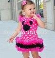 Vestidos de crianças Menina Minnie Mouse Hot Pink/Branco Polka Dot Vestido Em Camadas Vestidos de Festa de Aniversário Da Menina