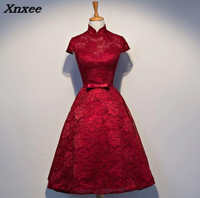 a8f993a61fe Femmes D été Mince Noël Nouveau Mariage Robes Bourgogne Courtes Manches Robe  De Soirée 2018 Dentelle ...