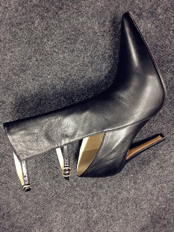 2017 New Stylish Wedding Party Dress Shoes Women Pointed Toe High Heel Booties Mujer Cut-outs Buckle Strap Ankle Boots