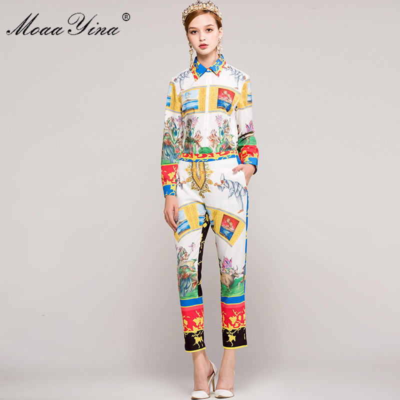 MoaaYina Fashion Designer Runway Set Spring Women Long sleeve Print Character Retro Casual Shirt+3/4 Pencil pants Two-piece suit