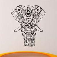 New Wall Stickers God Elephant Mandala Yoga Ornament Indian Buddha Elephant Wall Decal Living House Decor Wallpaper NY-350
