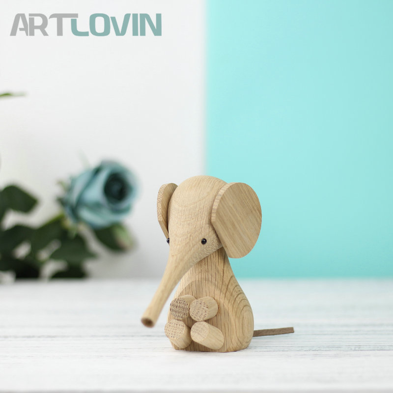 Nordic Solid Oak Wood Elephant Calf Miniature Animal Figurines Children Room Decoration And Toys Home Interior Decor Ornaments african elephant