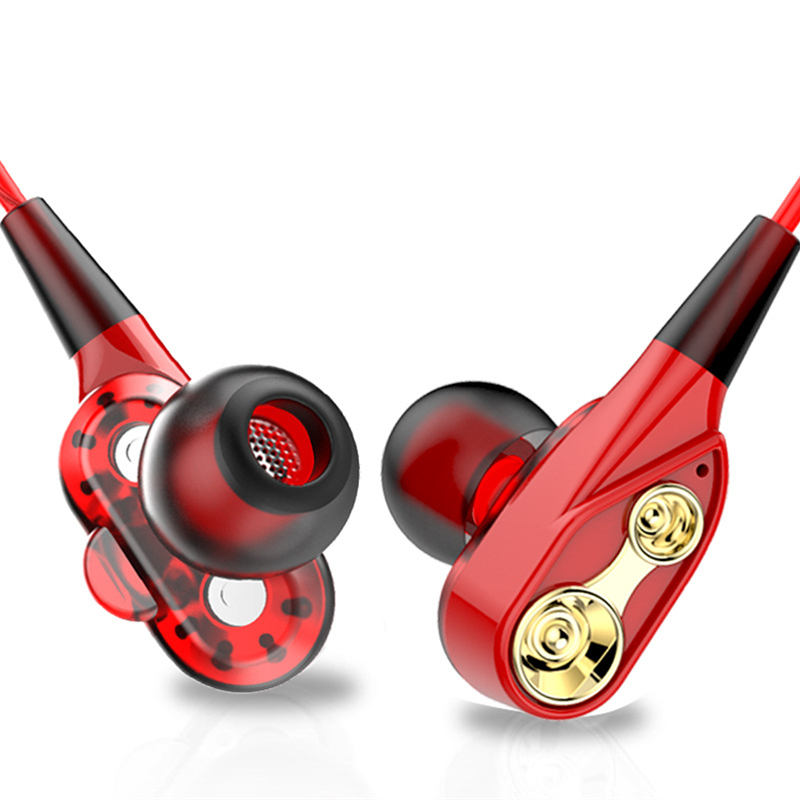 Dual Dynamic In Ear Earphone 3 5mm HiFi Music Earphones for iPhone 6S Plus Samsung LG Redmi Wired Mobile Phone Universal Earbuds in Phone Earphones Headphones from Consumer Electronics