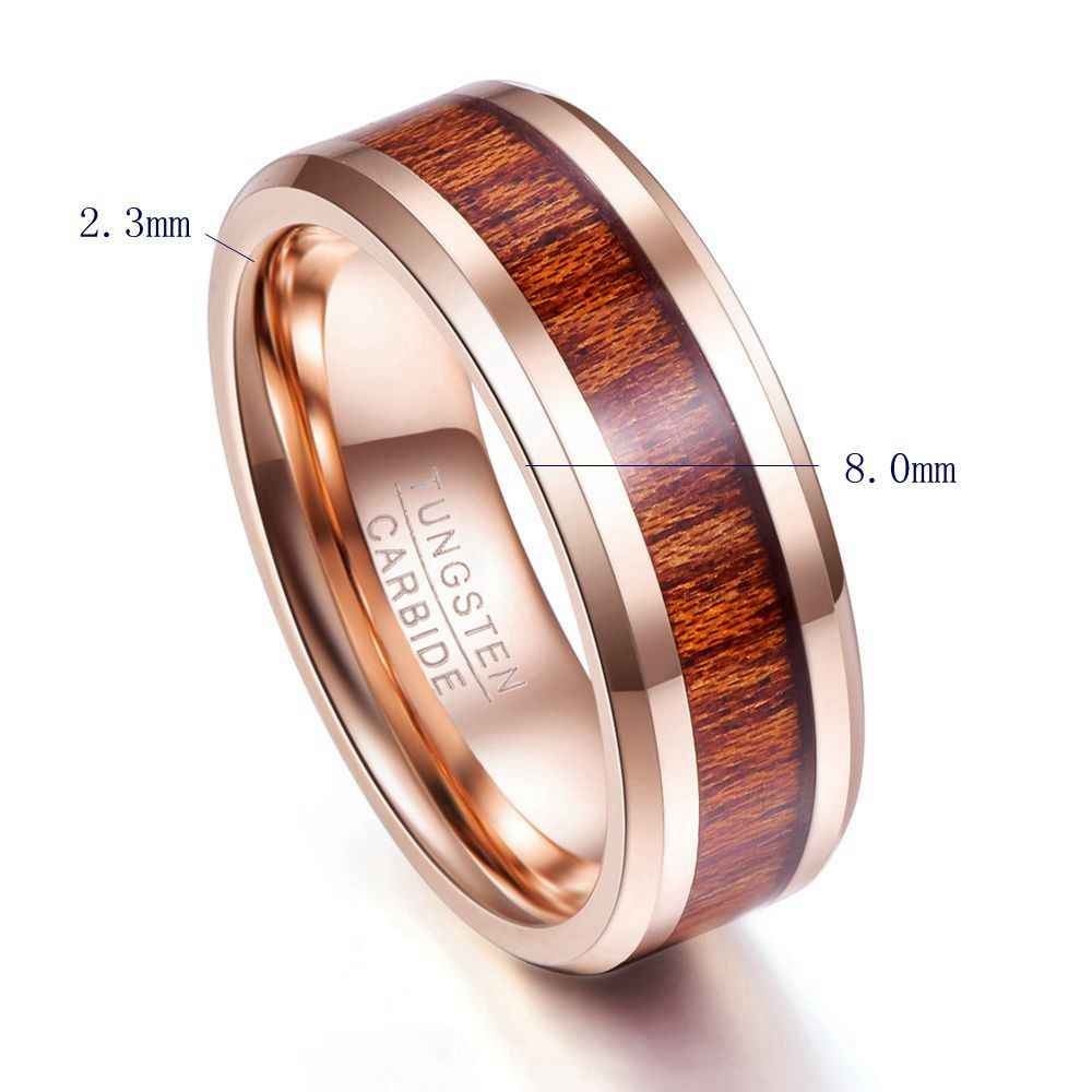 Male Wedding Bands.8mm Width Rose Gold Wood Grain Men Rings Tungsten Carbide Ring Male Wedding Bands Fashion Jewelry