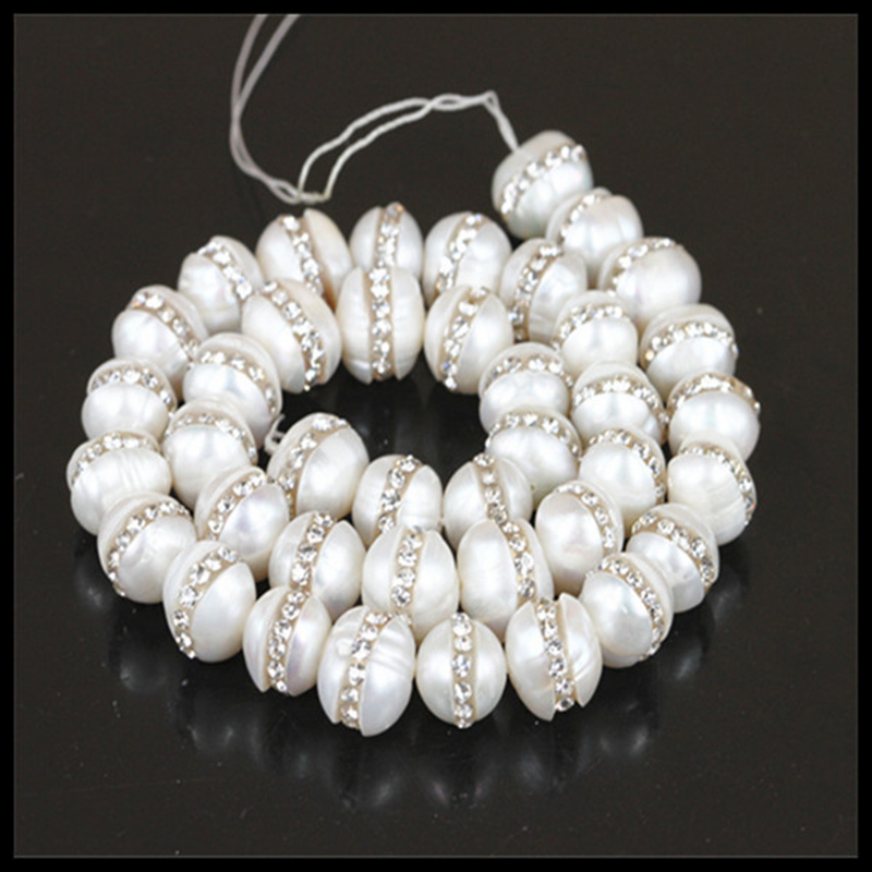 10mm Natural White Freshwater Pearl beads Pave Rhinestone Beads Jewelry findings accessory for jewelry making