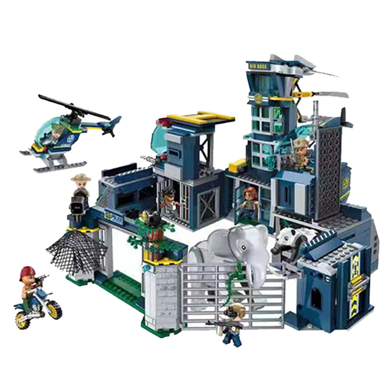 961pcs Jungle poaching Children s educational building blocks DIY toys Compatible city Helicopter police headquarters