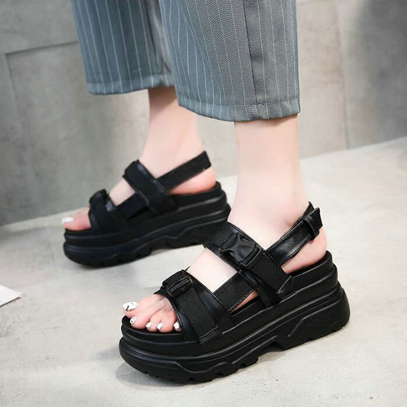 2018 Summer Women Wedges Beach buckle sandals Platform flats Women Casual Shoes footwear Open Toe Platform Sandals MM-28 minika women sandals summer shoes breathable lace flats platform wedges lose weight creepers summer sandals cd41