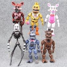 6 יח\סט חמש הלילה באופן פרדי אנימה איור Fnaf דוב פעולה איור Pvc דגם פרדי צעצועים לילדים מתנות