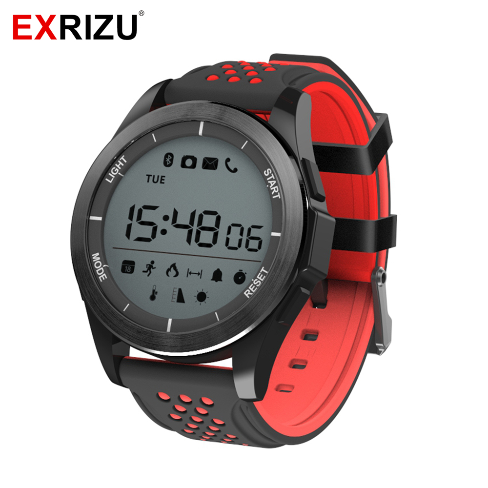 EXRIZU F3 Smart Watch IP68 Waterproof 3ATM Support Bluetooth Luminous Altitude Meter Thermometer Pedometer Steps Kcal Smartwatch