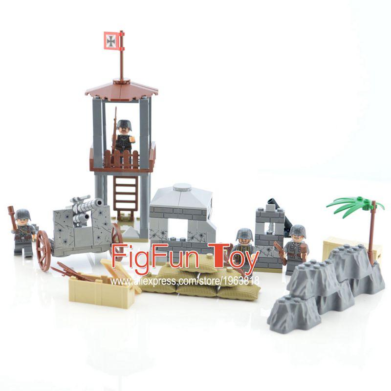 Custom World War Military Army Soviet US Soldiers Mini Action Figures Castle Building Block Bricks Set DIY Toys for Children