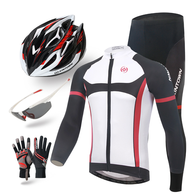 XINTOWN Men knight long sleeve cycling clothing 2016 ciclismo jersey cycling women helmet glasses gloves set bicicleta hot sale xintown men s cycling long jersey top padded pants set black purple multi color m