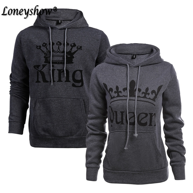 Fashion Matching Couple King Queen Hoodie Pullover Couple Sweatshirt Gift