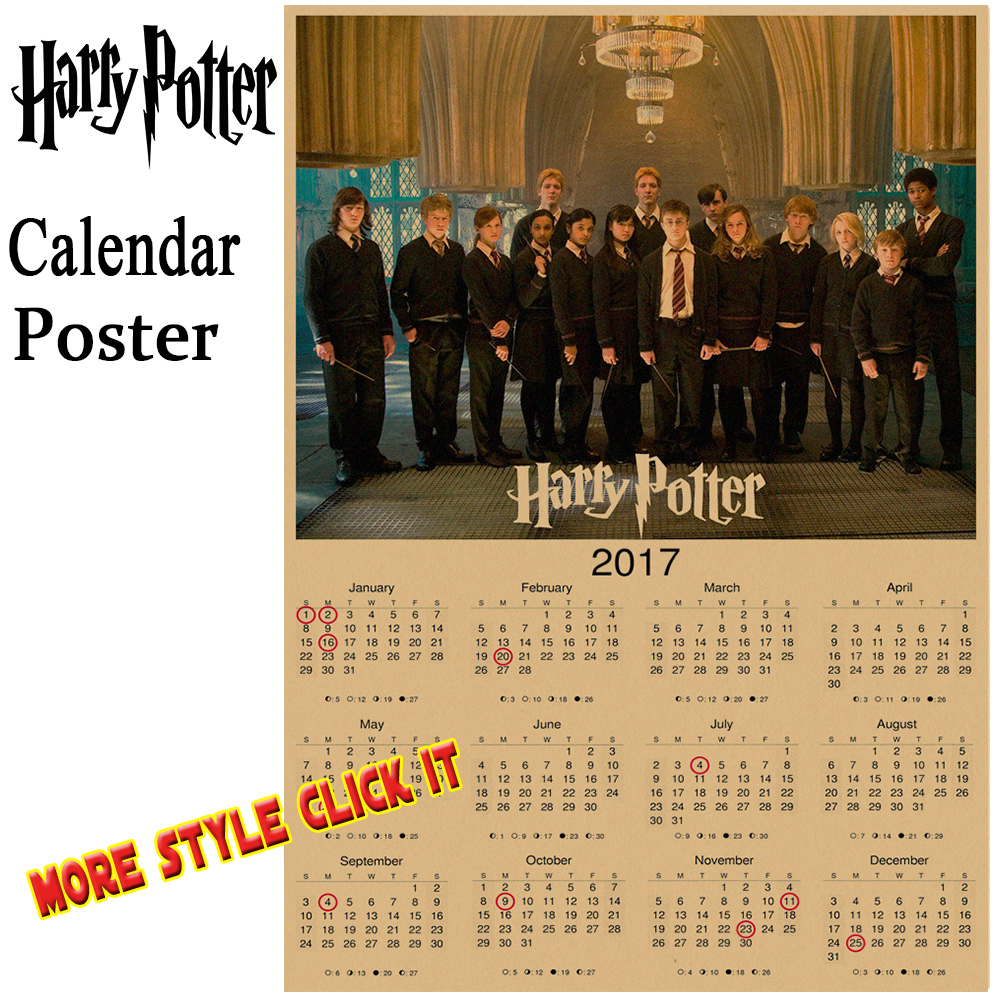 Harry potter 2017 calendar poster Vintage Antique Posters Wall Sticker Home Decora
