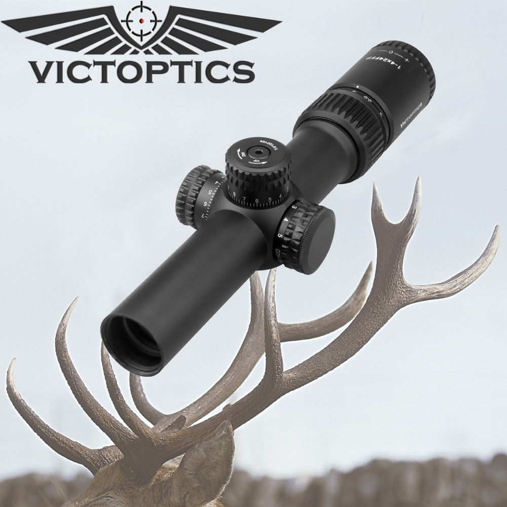 Victoptics 1 4x24 Compact Extra Light FFP 1/2 MOA Riflescopes Hunting Scopes with Red Green Illuminated Reticle 30mm For Air Gun