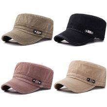 купить Men Women Unisex Newsboy Cadet Army Cap Solid Color Sunshade Vintage Washed Cotton Twill Adjustable Military Corps Flat Top Hat онлайн