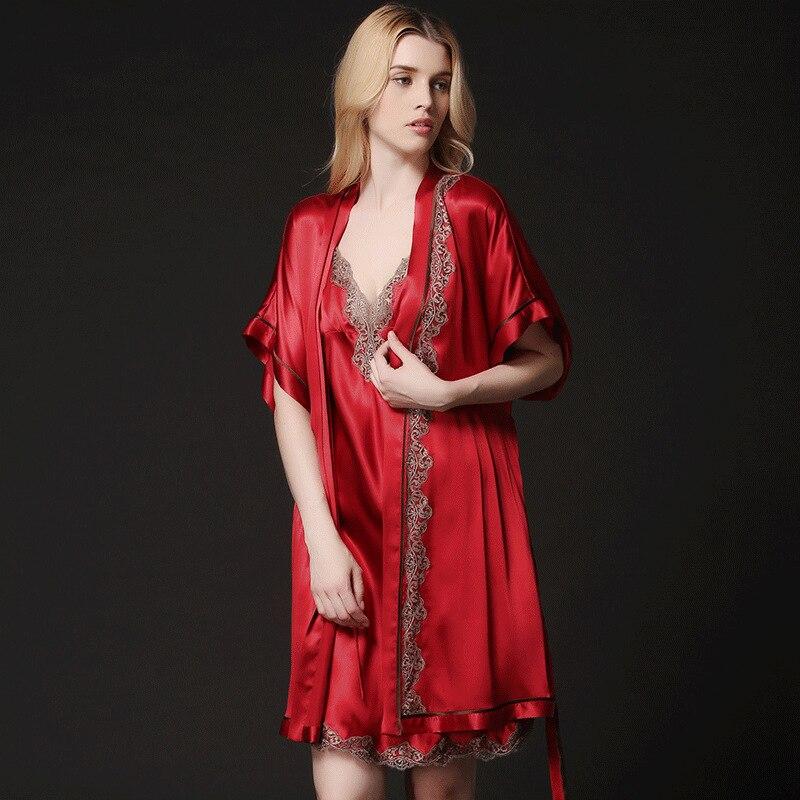 Mme nouvel été 100% robe de broderie en soie robe costume
