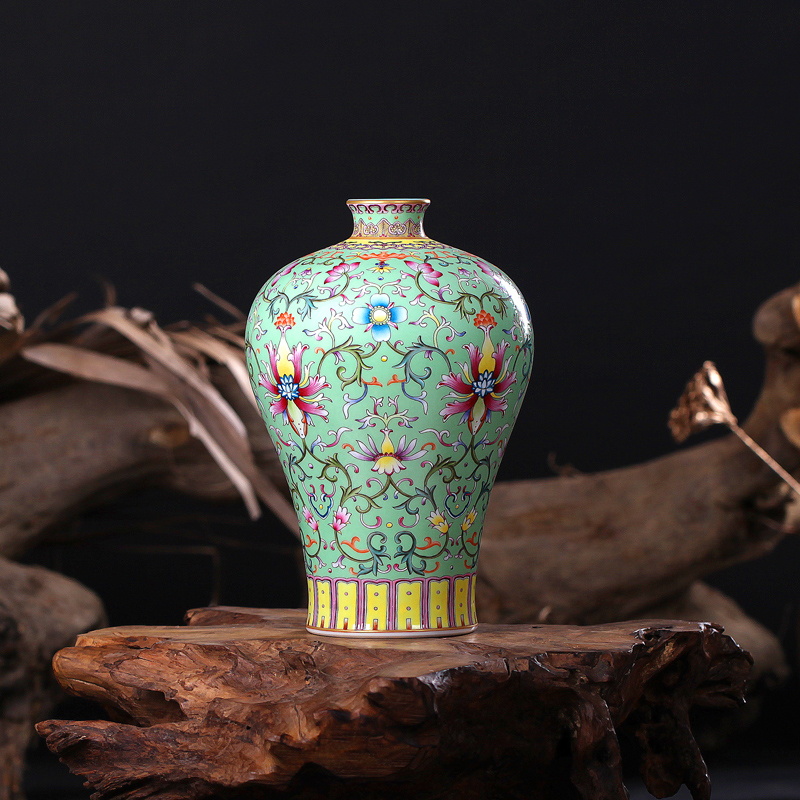 jingdezhen ceramics qing qianlong pastel green plum vase with lines home furnishing living room decoration technology - Green Technology Homes