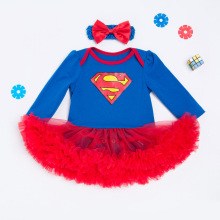 Blue Superman Baby Newborn Infant Costumes Lace Romper Dress Outfits Bebe Bobo Jumpsuit Baby Girl Clothes Infant Clothing Set