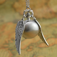 Hot antique silver wing golden gold snitch ball quartz pocket watch necklace women arabic number hour.jpg 200x200