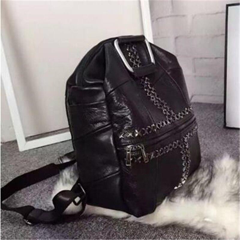 Mode Han Style haute qualité personnalité Rivet étudiant Double sacs à bandoulière Punk multifonction noir voyage femmes sacs à dos - 2